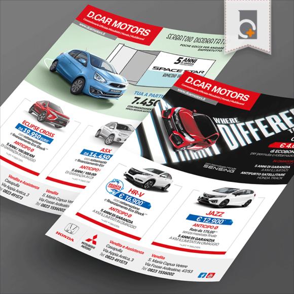 Portfolio: volantino D.Car Motors Concessioanria Honda e Mitsubishi