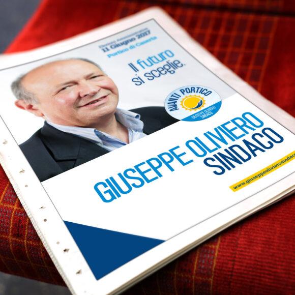 BeMoreLab. Portfolio marketing politico. 2017: Giuseppe Oliviero, sindaco di Portico. Pubblicità su giornali.