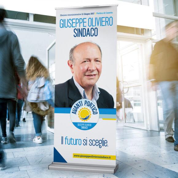 BeMoreLab. Portfolio marketing politico. 2017: Giuseppe Oliviero, sindaco di Portico. Roll Up.