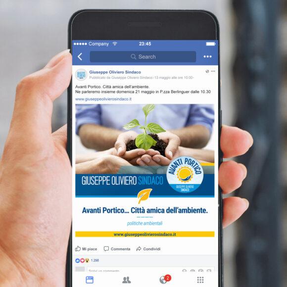 BeMoreLab. Portfolio marketing politico. 2017: Giuseppe Oliviero, sindaco di Portico. Social Marketing.